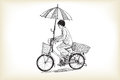 A girl riding bicycle to market and adapting umbrella