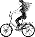 Girl riding a bicycle vector drawing of bike Royalty Free Stock Images