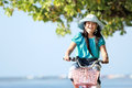 Girl riding bike outdoor Stock Photo