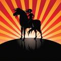 Girl riding black horse in the moonlight burst background eps vector stock illustration Stock Image