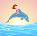 Girl riding dolphin little on the jumping s back with brunette little with pink swimming suit and lovely blue jumping Royalty Free Stock Image