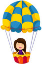 Girl riding hot air balloon Royalty Free Stock Images