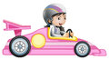 A girl riding in a pink racing car illustration of on white background Stock Images