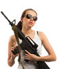 Girl with a rifle m young beautiful woman on white isolated background Royalty Free Stock Image