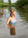 Girl  in river Royalty Free Stock Images