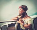 Girl on a road trip Royalty Free Stock Photo