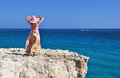Girl on the rock cyprus Stock Photography