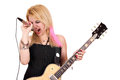 Girl rock and roll singer on white Royalty Free Stock Photo