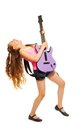 Girl rocks while playing on electro guitar with long hair and singing white background Stock Photography