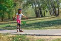 Girl on the rollerblades Royalty Free Stock Photography