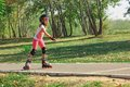 Girl on the rollerblades Stock Photography