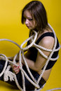 Girl with rope Stock Photography