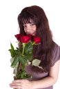 The girl with roses Stock Photography