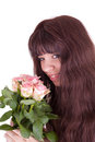 The girl with roses Stock Images