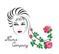 Girl with roses in her hair emblem set for a flower shop a pink Stock Images