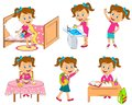 Girl daily routine Royalty Free Stock Photo