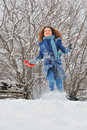 Girl run in winter garden Royalty Free Stock Photography