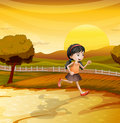 A girl running along the field illustration of Stock Photo