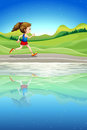 A girl running along the river illustration of Royalty Free Stock Photo