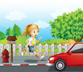 A girl running along the road illustration of Royalty Free Stock Photo
