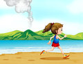 A girl running along the seashore illustration of Stock Images