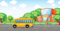 Girl running behind school bus illustration of a infront of Stock Photo