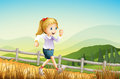 A girl running at the farm illustration of Stock Photography