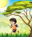A girl running at the field illustration of Stock Photo