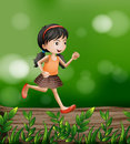 A girl running at the forest illustration of Royalty Free Stock Image
