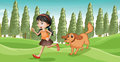 A girl running with her dog illustration of Stock Photos