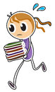 A girl running while holding books illustration of on white background Royalty Free Stock Photos