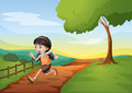 A girl running hurriedly at the hill illustration of Stock Photo