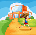 A girl running near the school illustration of Royalty Free Stock Photo