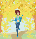 Girl running in the park autumn landscape illustration Stock Image