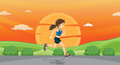 Girl running on road Stock Images