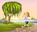 A girl running at the street with a giant tree illustration of Stock Photography