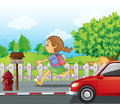 A girl running in the street illustration of Stock Photography