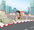 A girl running at the street near the stairs illustration of Stock Photography