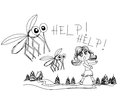 Girl runs away from mosquitoes illustration Stock Photos