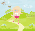 Girl runs away from mosquitoes illustration Royalty Free Stock Photos