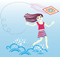 A girl runs through the waves Stock Images