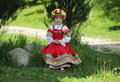 Girl in russian traditional folk clothes