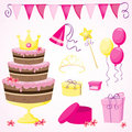 Girl's birthday party elements Royalty Free Stock Images