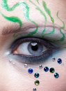 Girl's eye zone bodyart Stock Images