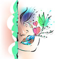 The girl s face lips eyes tears vector illustration is bored love and distance two cities Royalty Free Stock Photo