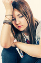 Girl in sad condition toned image Stock Images