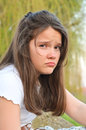Girl sad portrait of a teenage Stock Photography