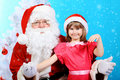 Girl and santa Royalty Free Stock Photography
