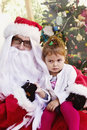 Girl with Santa Stock Photos