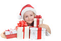 Girl in santa cap Royalty Free Stock Photo